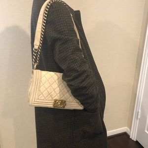 CHANEL Boy Bag with Antique Gold Chain